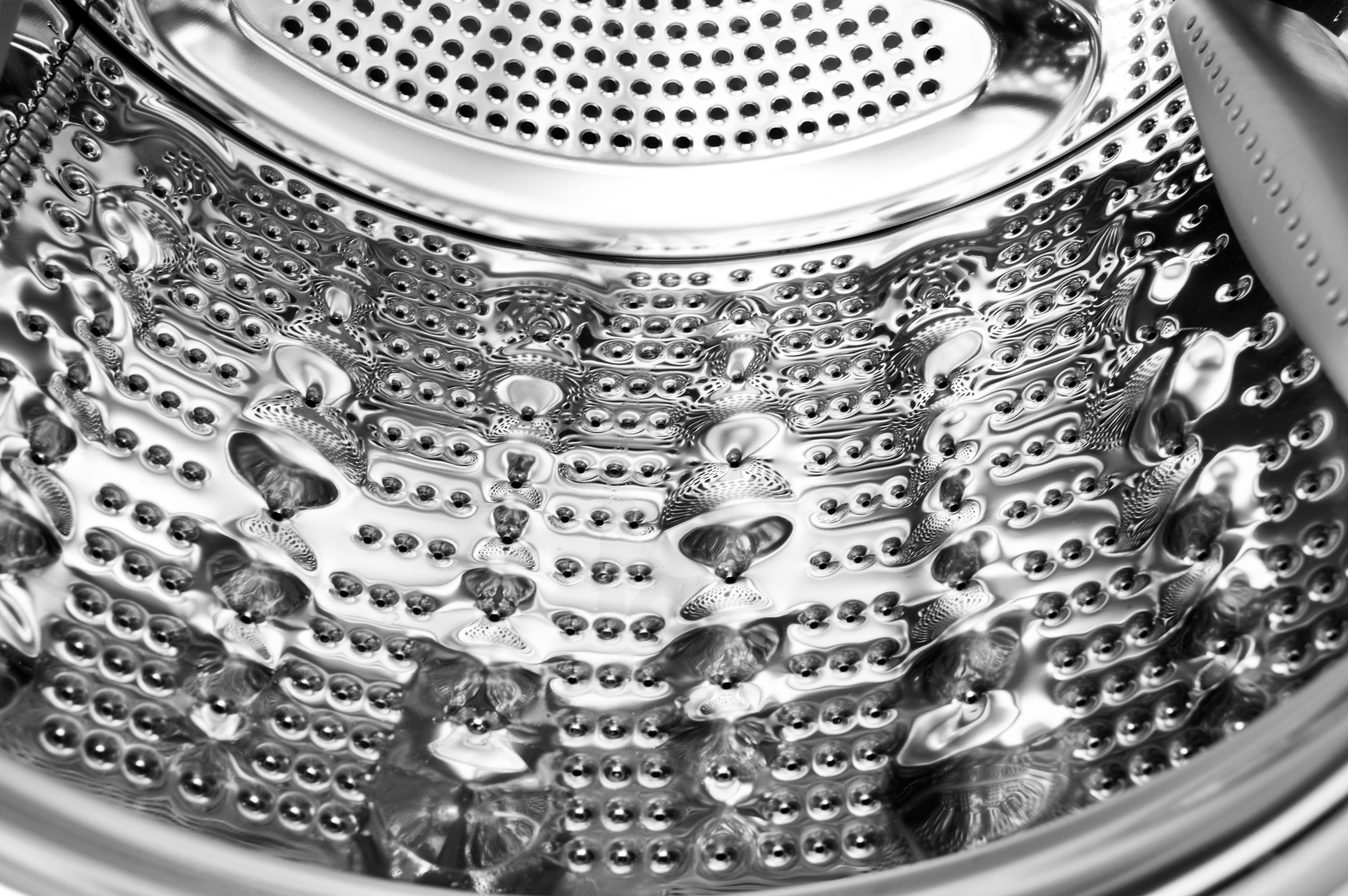 The bubbles in the stainless-steel drum help clean your clothes without destroying them.