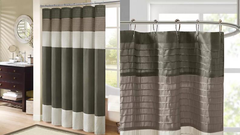 A faux silk shower curtain.