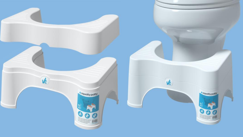 On left, two pieces of the adjustable Squatty Potty in front of a blue background. On right, adjustable Squatty Potty in front of toilet on blue background.