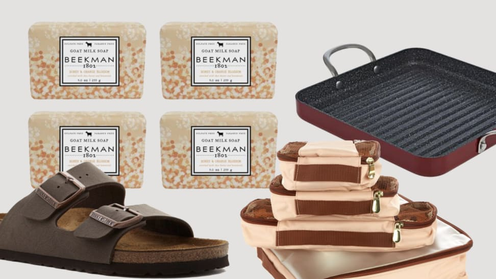 An image of several products included in the gift guide including soap, Birkenstock sandals, packing cubes, and a grill pan.