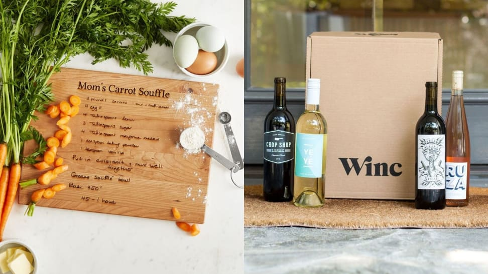 Left: A personalized recipe board with Mom's Carrot Souffle on it. Right: A Wince wine subscription on a doorstep.