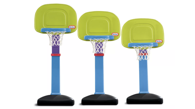 Three toy basketball hoops adjusted at different heights