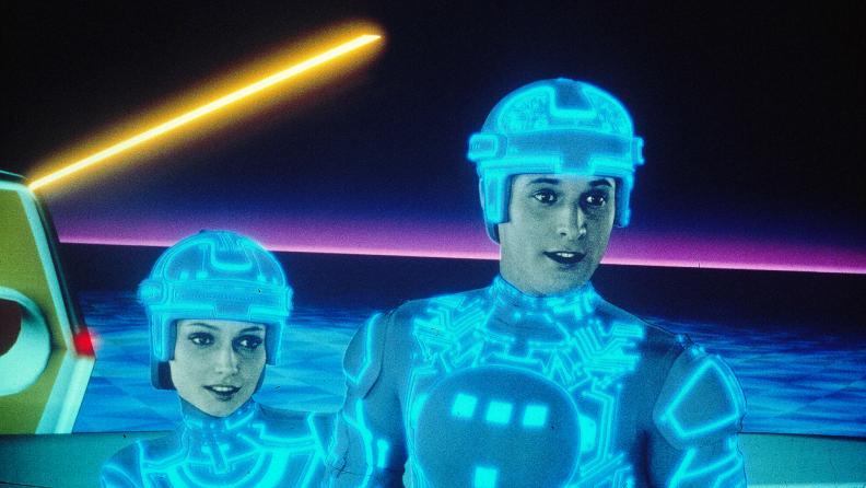 Cindy Morgan and Bruce Boxleitner inhabit the digital realm in 1982's Tron.
