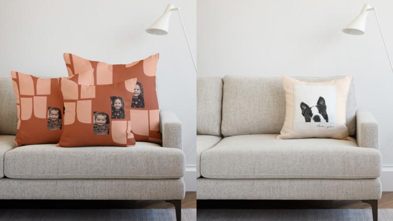 On left, set of three customized throw pillows on couch. On right, one customized throw pillow on couch