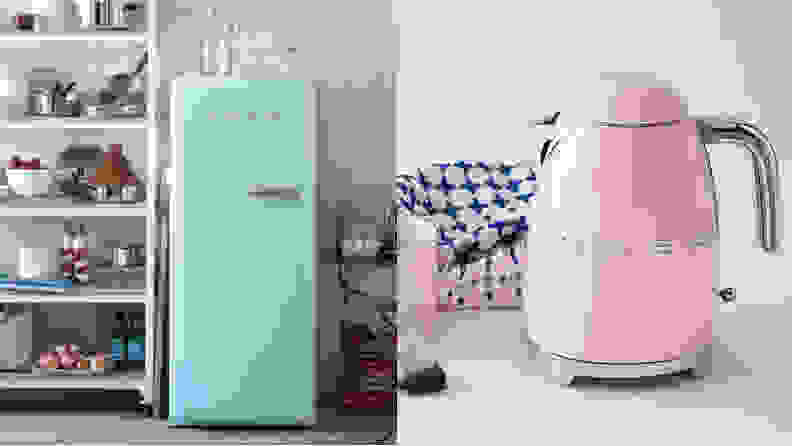 Smeg blue fridge and pink kettle