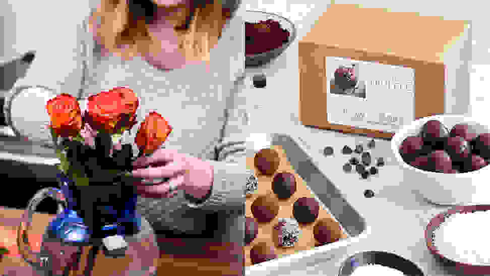 A photo of a woman arranging flowers next to a photo of a chocolate truffle making kit.