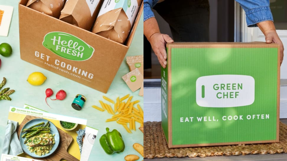 On the left, a box is packed with Hello Fresh meal kits; some fresh produce including a lemon green peppers and dry pasta are scattered around the box and a recipe card. On the right, a person is trying to lift a Green Chef box filled with meal kits.