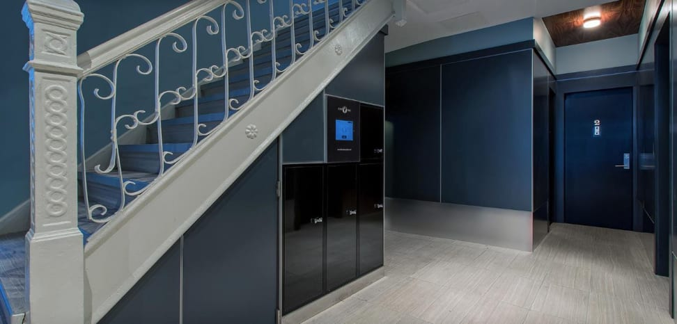 Clean Cube lockers in an apartment building lobby
