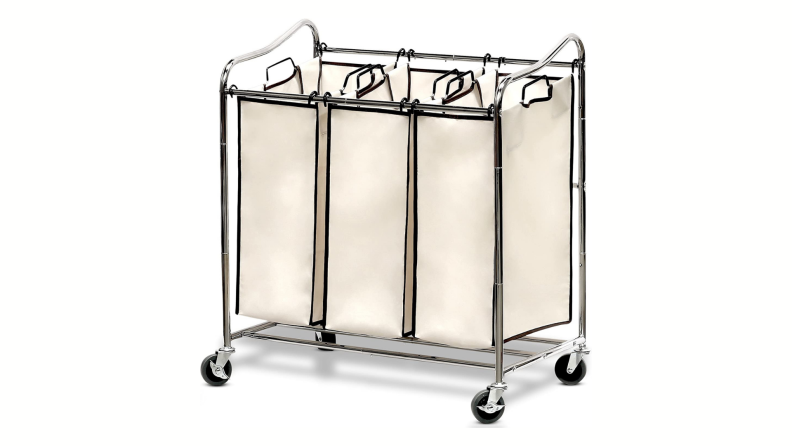 A several-section cart on wheels that you can roll right up to the washing machine makes it easy to sort laundry before you do a load.