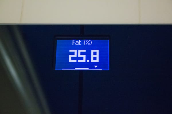 The scale measuring body fat percentage