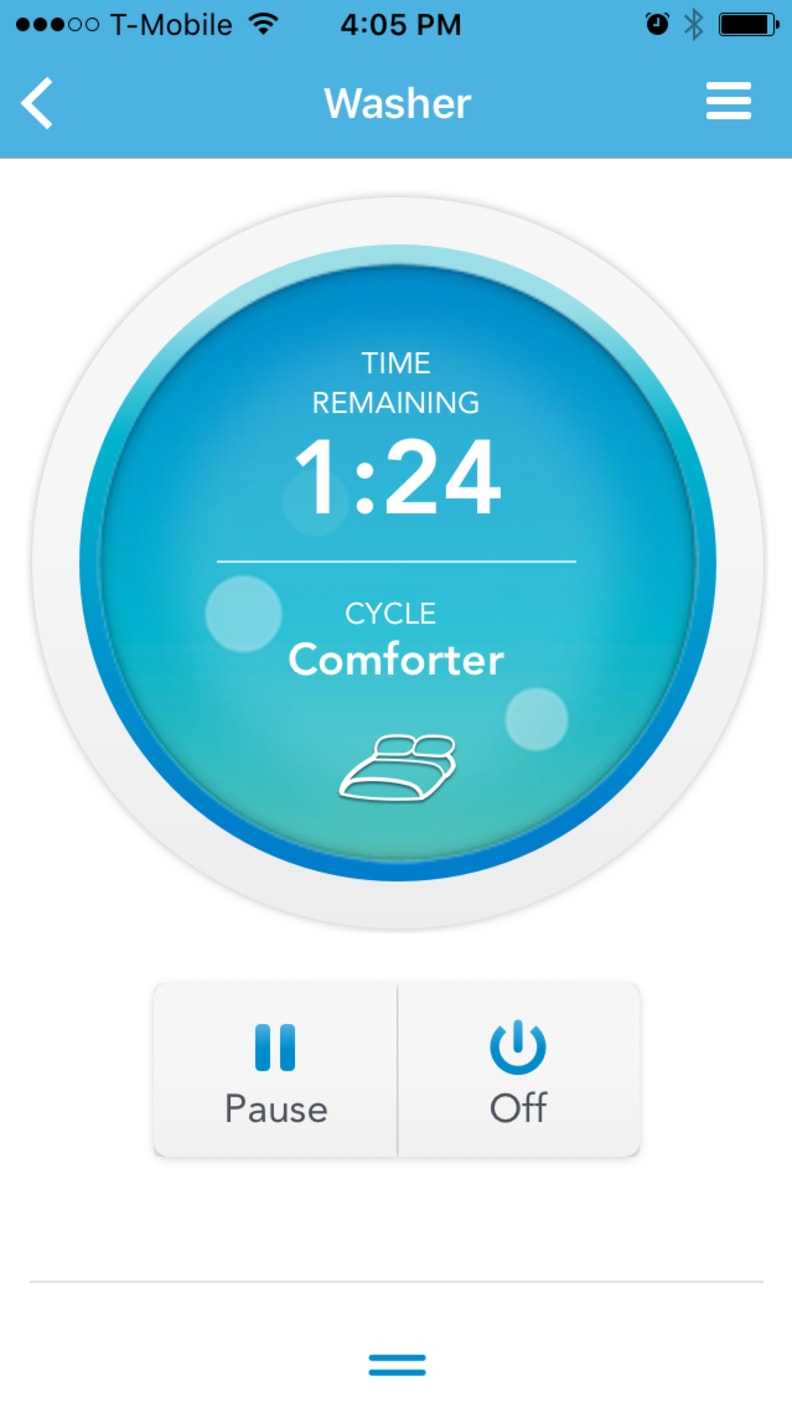 The real appeal of the app is that you can check how much time is left on a cycle from anywhere.