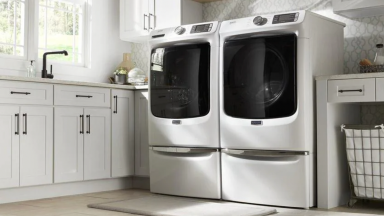 Photo of Maytag MHW5630HW washer next to matching dryer