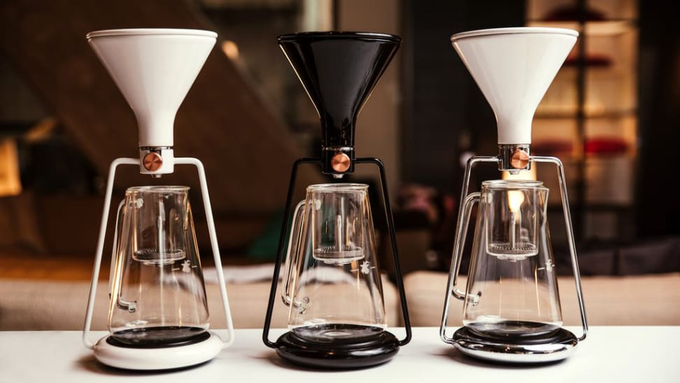 Three Gina coffee makers by Slovenian start-up Goat Story are on display.