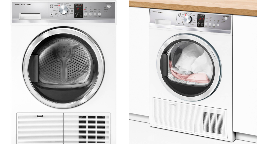 The Fisher & Paykel DE4024P1 compact condenser dryer dries clothes well and lets you customize cycles.
