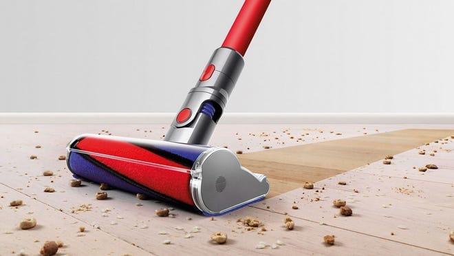 The Dyson V8 vacuums the floor