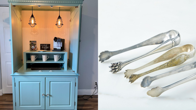 On left, pastel blue armoire wine and coffee bar. On right, three sets of vintage french silver-plated ice tongs.