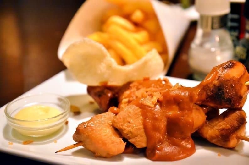 Indonesian chicken satay with peanut sauce.jpg