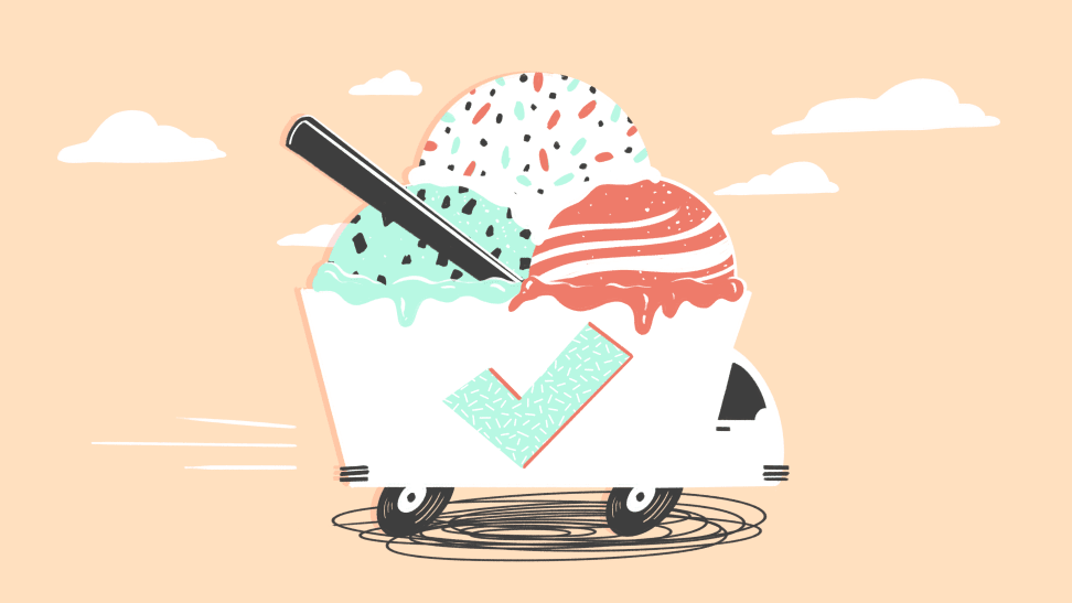 An illustration of an ice cream truck against a pale yellow background.