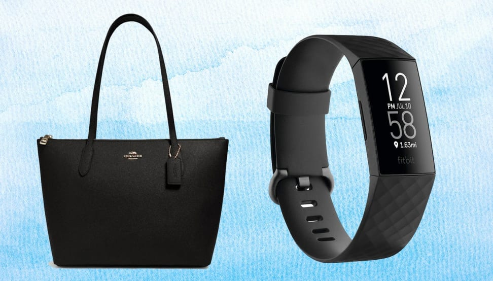 On left, black leather top handle purse in front of blue background. On right, digital smart watch in front of blue background.