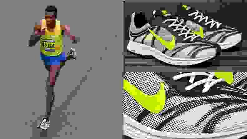 Lelisa Desisa running in a pair of Nike Zoom Streak 3 running shoes at the 2015 Boston Marathon.