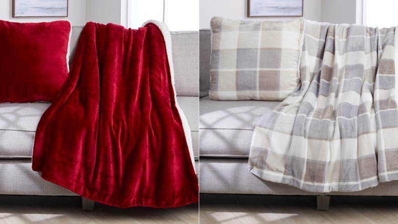 Two images of fleece blanket and pillow sets next to one another, the first in deep, rich red, the second in a pale grey plaid.