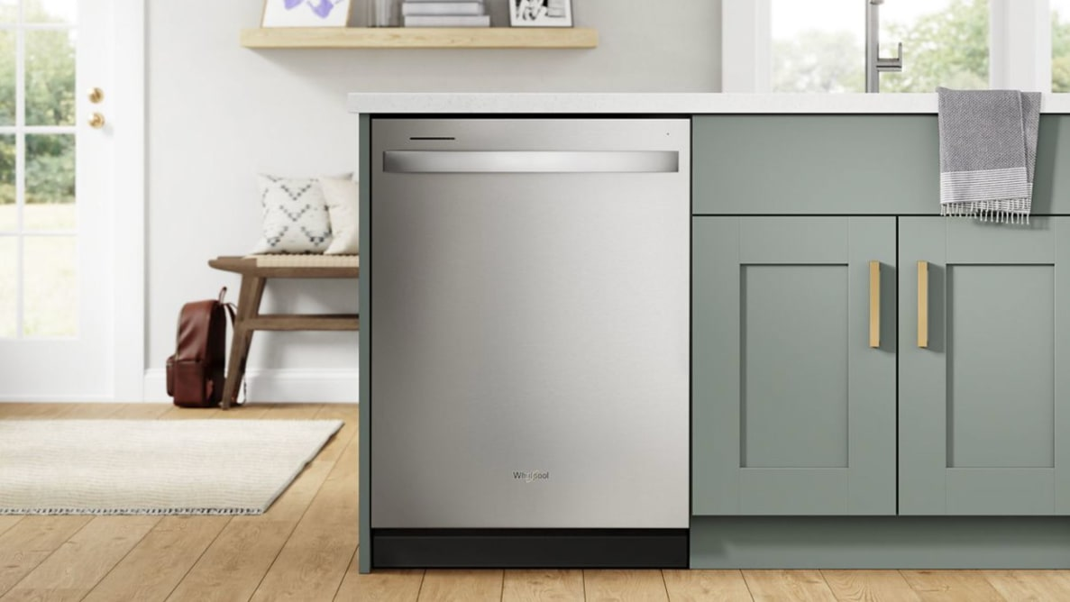 The Whirlpool WDT750SAKZ stainless steel dishwasher, installed in a modern kitchen.