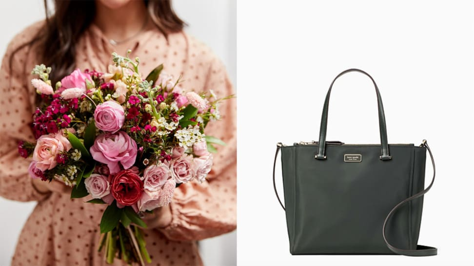 A woman holding a bouquet of flowers from Bouqs and a Kate Spade Dawn medium tote bag against a white backdrop, among the best gifts for stepmoms.