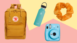 a yellow fjallraven backpack, blue hydroflask, blue instax fujifilm and scrunchie on a pink and yellow background