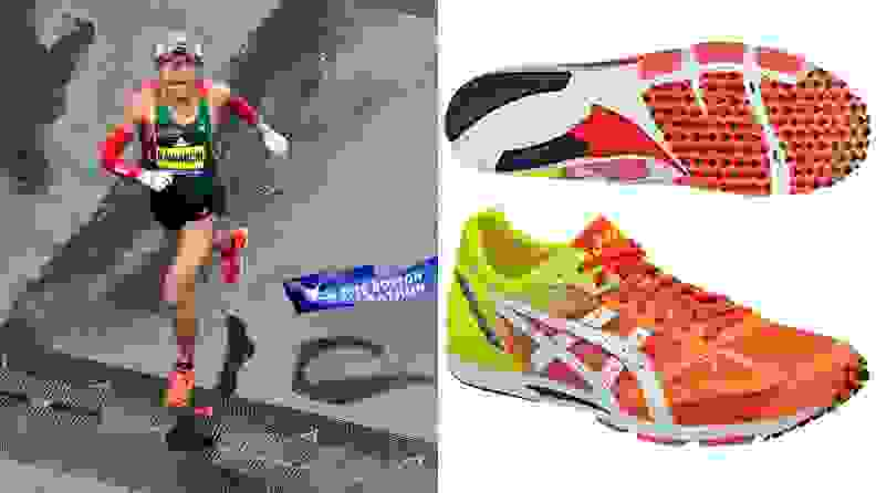 Yuki Kawauchi running in a pair of Sortiemagic RP 2 sneakers from ASICS at the 2018 Boston Marathon.