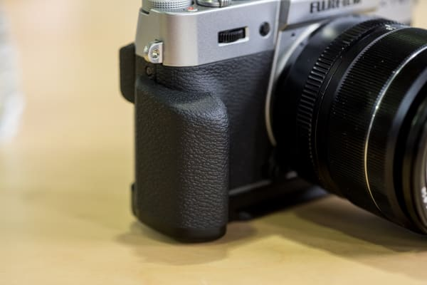 The X-T10 grip has been redesigned slightly.