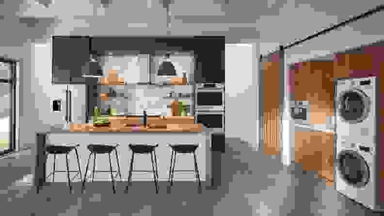 A lifestyle image of a sleek, modern kitchen featuring Bosch appliances.