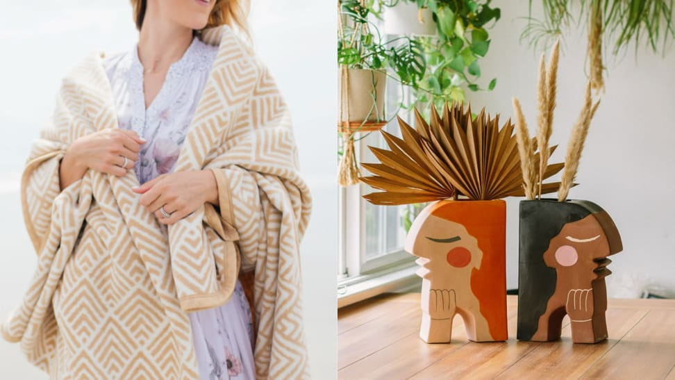 Left: women wrapped up in tan pattered ChappyWrap blanket, right: book ends designed as two women by Justina Blakeney Home