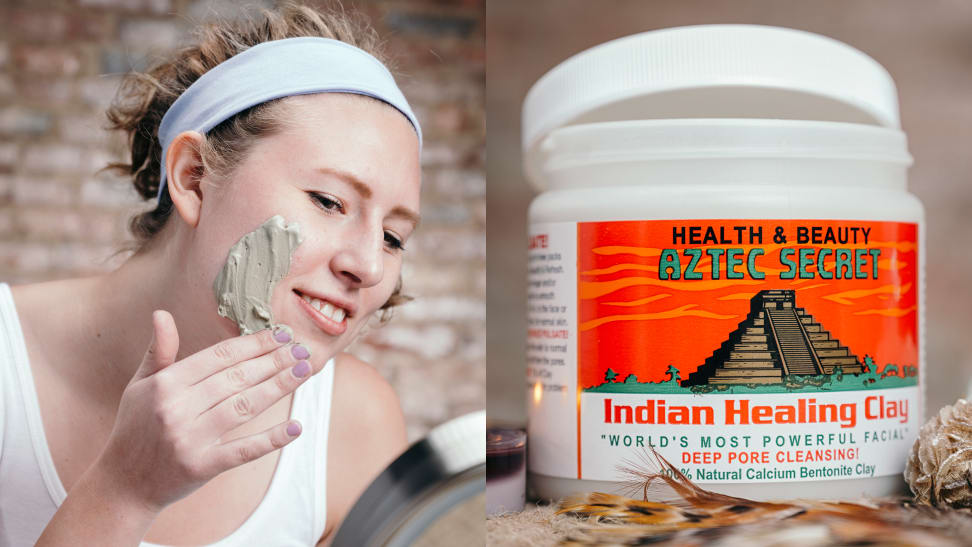 A woman apply a clay mask and the Aztec Indian Healing Clay jar