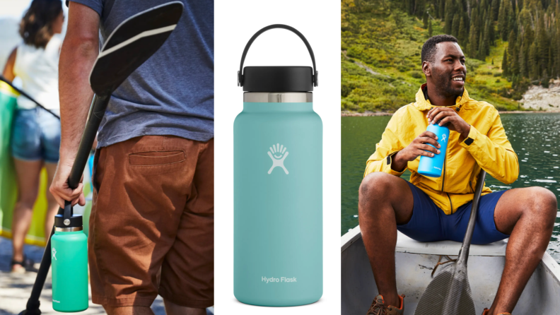 On left, man holding blue Hydro Flask bottle with a paddle. In middle, product shot of teal Hydro Flask bottle. On right, man sitting in boat on lake unscrewing Hydro Flask bottle to take a drink.