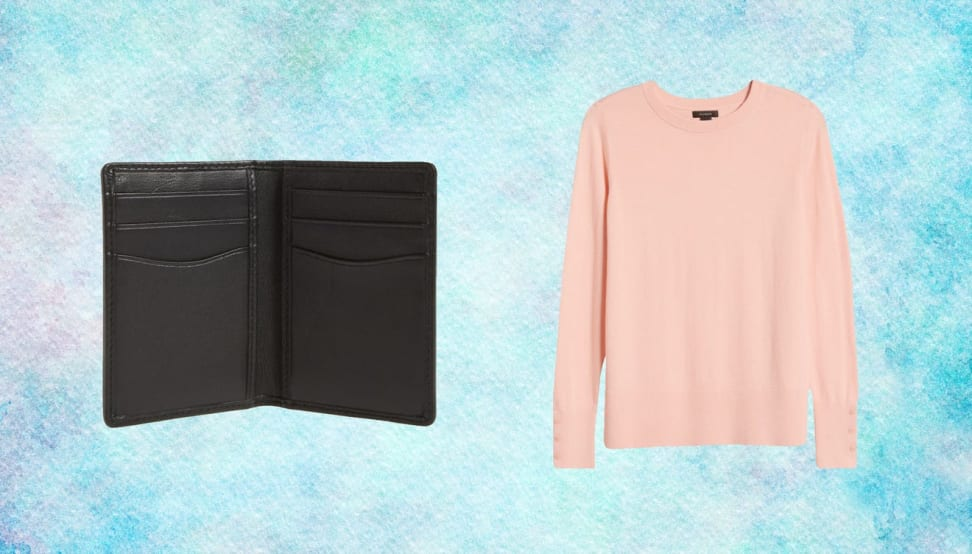 On left, black leather wallet in front of blue background. On right, peach colored sweater in front of blue background.