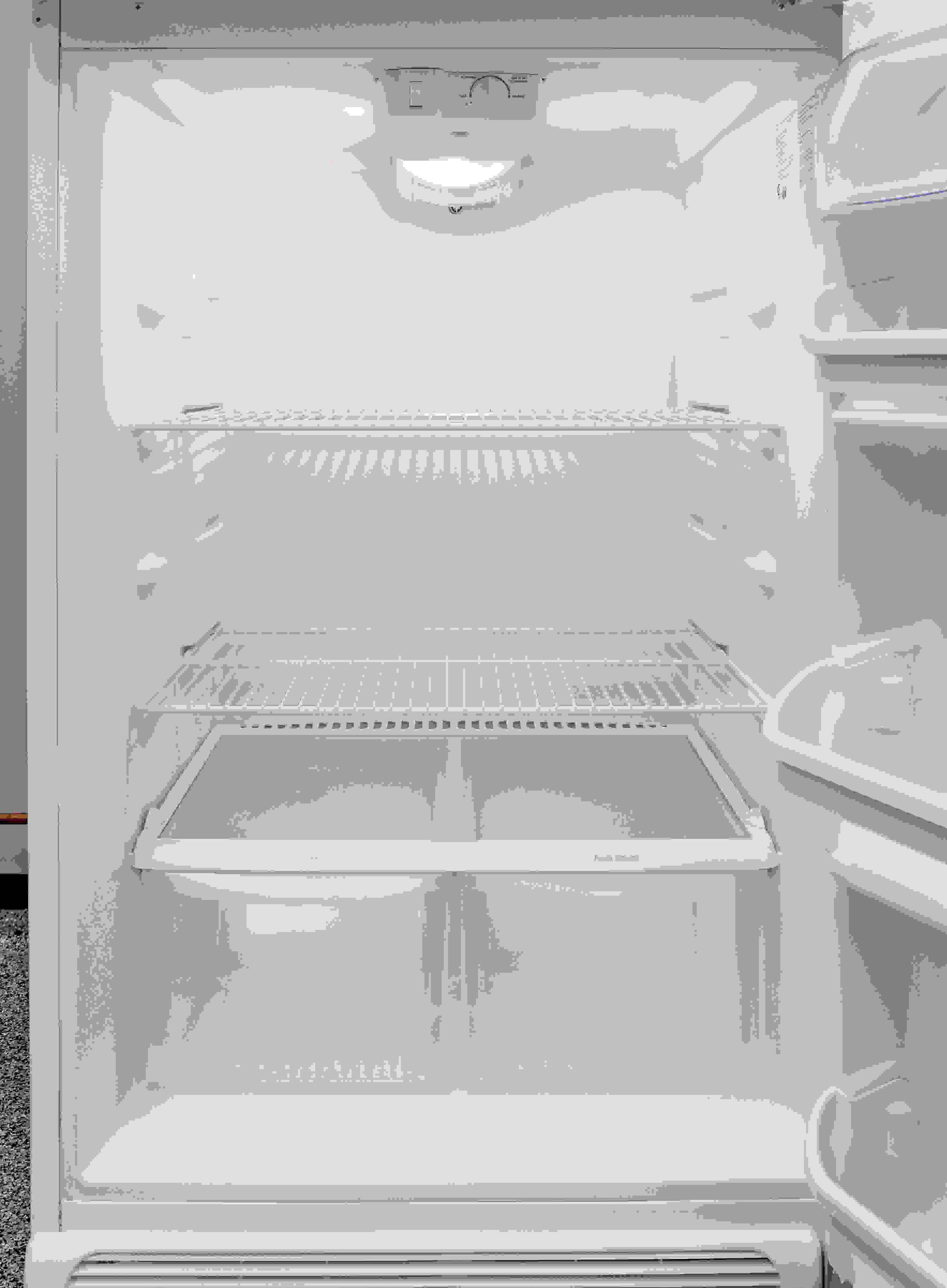 The Frigidaire FFTR1814QW's wire shelves actually can be adjusted, allowing you to somewhat customize your food storage.