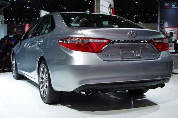 The rear view of the 2015 Toyota Camry.