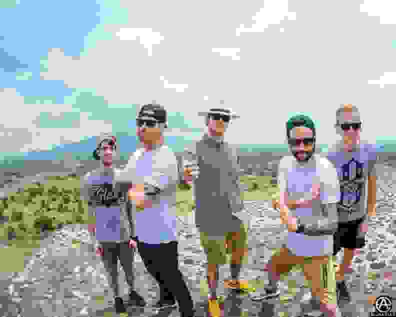 A photo Adam took of A Day to Remember atop a pyramid in Mexico.