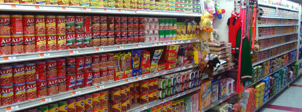 A pet food aisle.