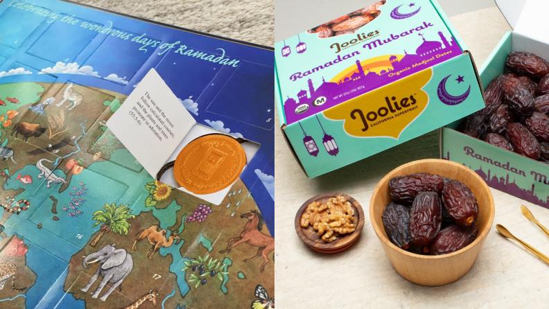 A Ramadan treat calendar and a box of dates.