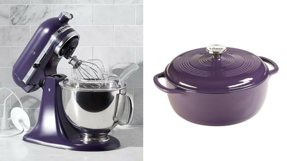 Kitchen Aid stand mixer and lodge cast iron skillet in violet