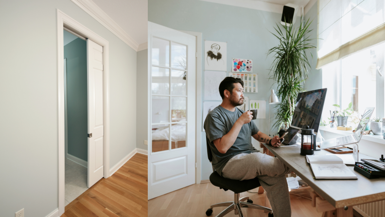On left, white pocket sliding door in home setting. On right, man sitting in home office at desk while looking out of window.