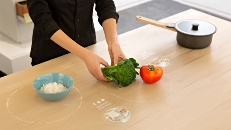 This table can serve as everything from a cooking assistant and recipe guide to a wireless charging station for your smart devices.