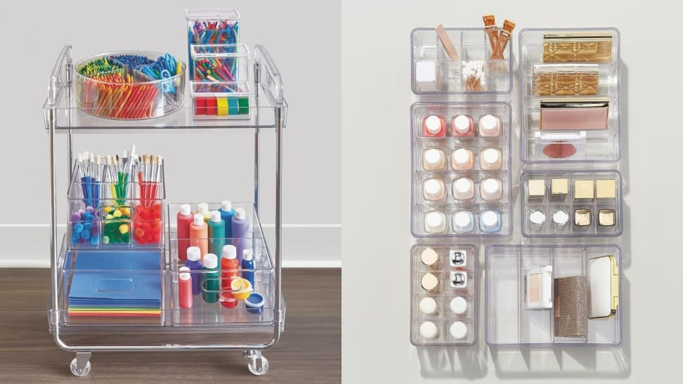 The clear rolling cart and drawer inserts