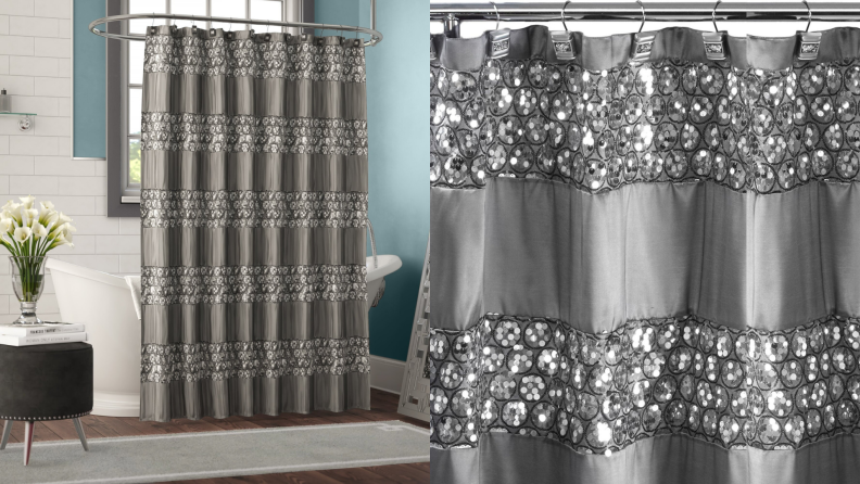 A shower curtain with cracked glass accents.
