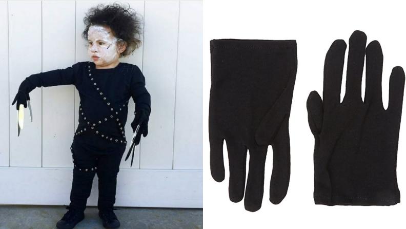 On left, child dressed up in Edward Scissorhands Halloween costume.