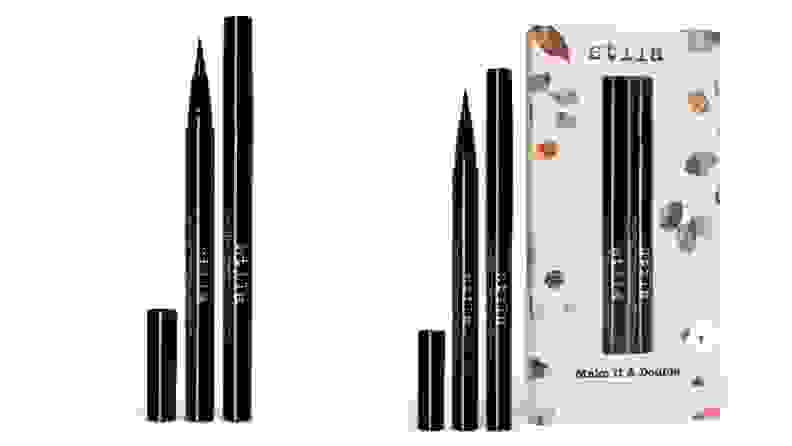 Two product shots of Stila Stay All Day Eyeliner, one in its original packaging and without.