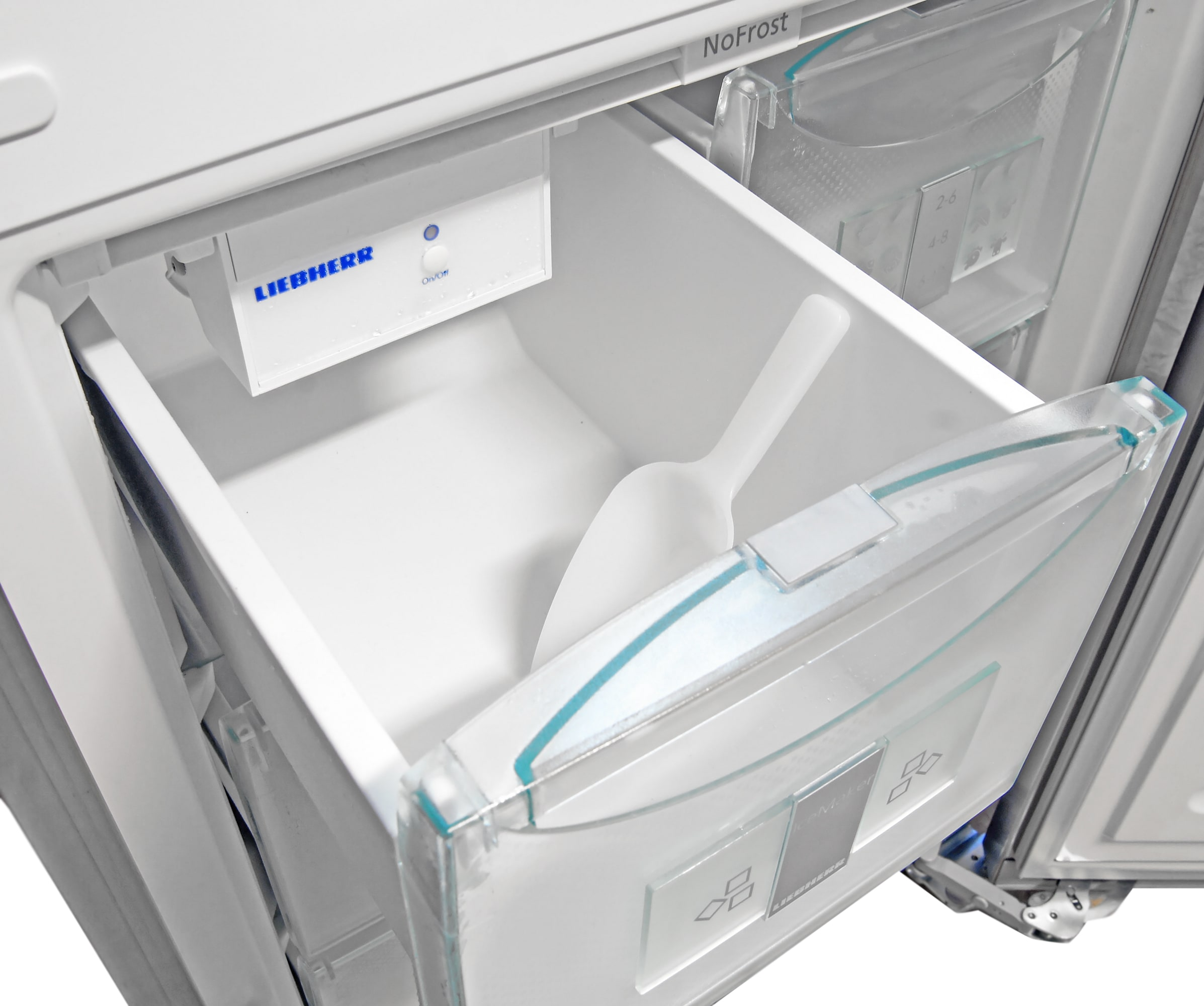 Instead of a separate bucket, the Liebherr CS1360's entire upper left freezer drawer can be used as ice storage—complete with plastic scoop.
