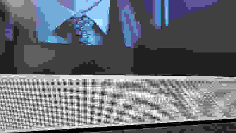 Close up of the Sonos Beam Gen 2 in front of a TV