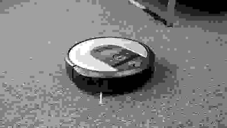 The iRobot Roomba i6+ cleaning a low-pile carpet